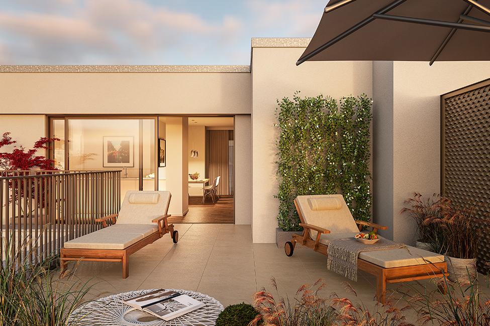 großzügige Dachterrassen im Saßnitzer / 3D-Visualisierung © Archlab