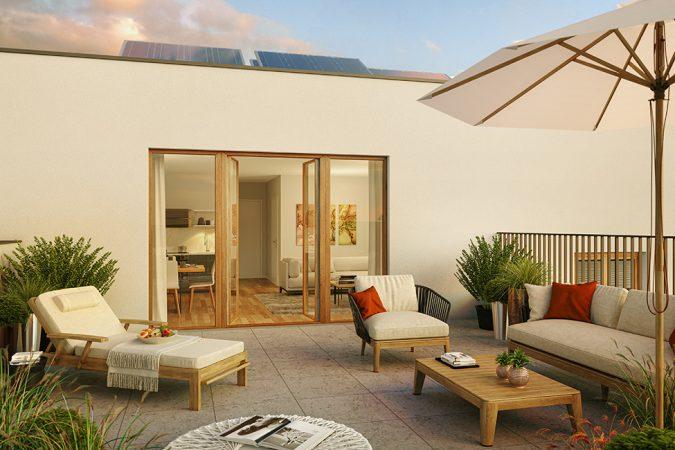 Sonnenplatz Dachterrasse / 3D-Visualisierung © Archlab