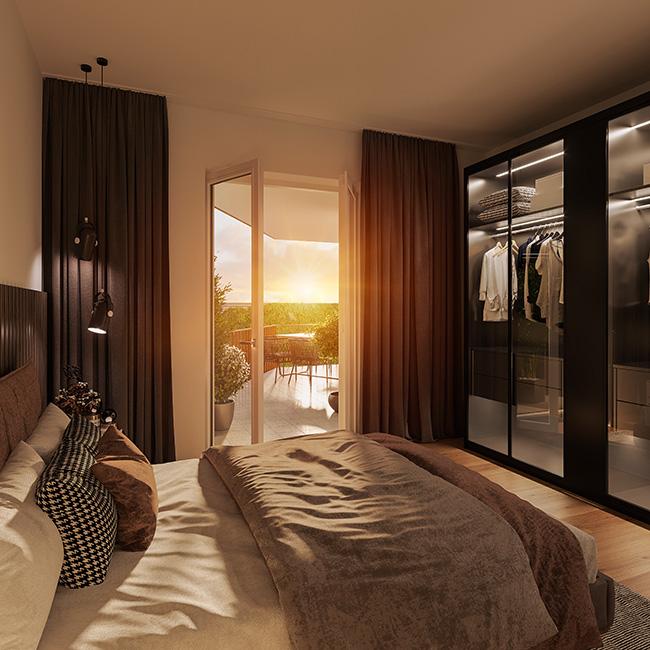 ein Blick ins Schlafzimmer / 3D-Visualisierung © Archlab