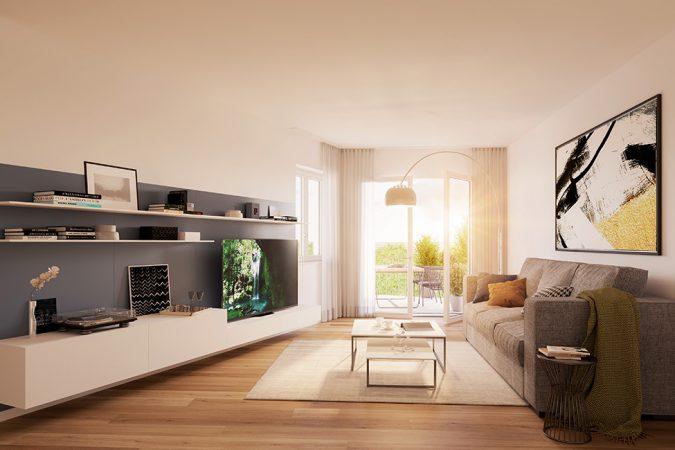 offene Wohnräume mit Echtholzparkett / 3D-Visualisierung © Archlab