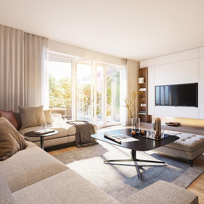 helle Räume durch große Fenster / 3D-Visualisierung © Archlab