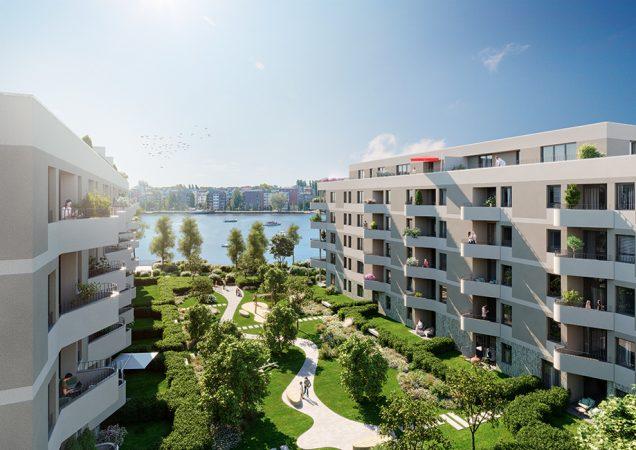 MY BAY Innenhof © 2021 Investa RuBu 1 GmbH & Co. KG